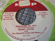 Benny Payne 45 Memories of You/You Were Meant for Me Kapp Promo 132 Mundell Love