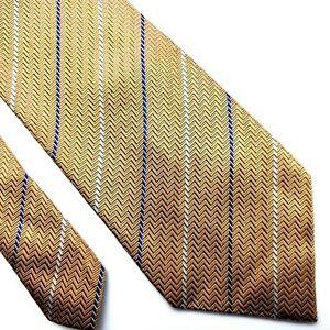 Nautica Silk Tie Gold Striped Herringbone Woven Classic