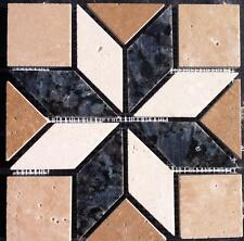 "6""x6"" Granite & Tile Medallion, Blue Pearl granite, Travertine mimic tile"
