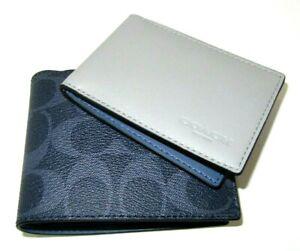 Coach C3198 3 In 1 Men's Compact ID Wallet Denim Blue Signature NWT $178