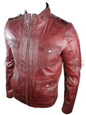 Mens Red Retro Military Biker Style Jacket Real Leather Soft Touch Vintage look