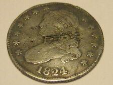 1824/2 Capped Bust Quarter VERY RARE VG 10 Detail