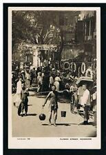 China: 1920 Brewer RPPC view Flower Market Street & The Penalty Movie, Hongkong
