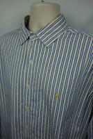 Ralph Lauren Mens XL Button Up Shirt Classic Fit LS Pony Striped Yellow Blue EUC