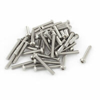 M6x40mm Stainless Steel Button Head Hex Socket Cap Screws Silver Tone 50Pcs
