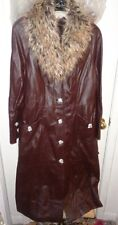 S NWT Ladies Womens Terry Lewis Coat Jacket Brown Leather Faux Fur Collar Long