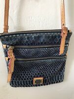 Dooney & Bourke double zipper blue leather snake skin crossbody beautiful