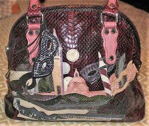 TOSCA BLU 100% Snakeskin VENEZIA Gorgeous PATCHWORK Bowler Satchel Handbag RARE