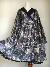 346.BNWT!axes femme black Botanical pattern like cache coeur design dress