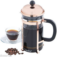 VonShef 8 Glass Cup/ 1L French Press Cafetiere Filter Coffee Maker Copper Finish