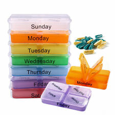 Portable 7-Day Pill Tablet Box Weekly Medicine Storage  Medication Organizer Pop