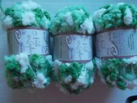 Needle Crafters Stranded Yarn, greens/white, lot of 3