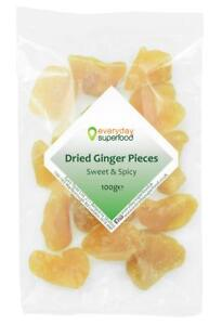 Dried Ginger Pieces Premium NOT Crystallised Sweet, Hot Spicy NAKED Gingers Root