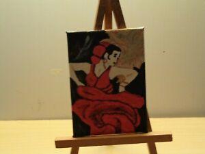 dollhouse miniature painting Flamenco dancer