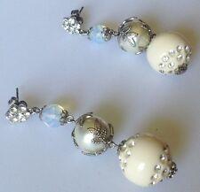 boucles d'oreilles percées clous rétro couleur argent cristal diamant perle 5282