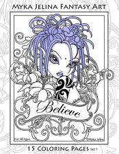 Myka Jelina - Coloring Pages - Flower Fairy - Big Eyed - Angels - Set 7