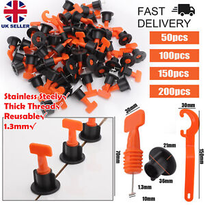 50/200PCS Tile Leveling System Kit Reusable Tile Spacers Wall Floor Clips Tools