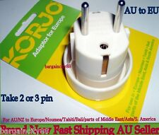 KORJO Travel Plug Adaptor from AUSTRALIA/NEW ZEALAND to Europe(except UK), Bali