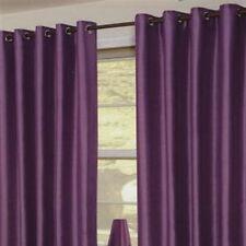 "PAIR Of Purple Plum  Eyelet Taffeta/Faux Silk Curtains 55"" Wide x 90"" Drop"