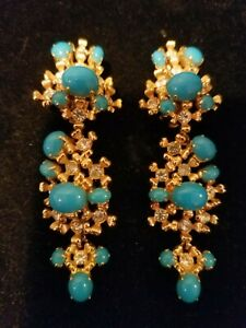 Vintage Christian Dior Signed Clip Earrings Germany 1968