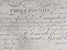 ➡➡1755 NH-98 3 Pounds Redated 1756 New Hampshire Colonial. Cohen 1850's Reprint