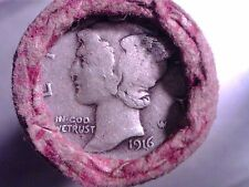 1916 MERCURY DIME + 1858 FLYING EAGLE CENT ON UNSEARCHED ESTATE SALE PENNY ROLL
