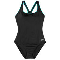 Speedo 8 Swimsuit Women's Ultraback Piping One Piece Black Blue Swimwear New