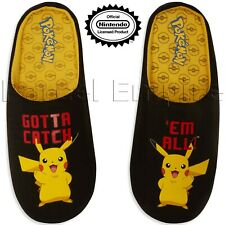 Official MENS POKEMON PIKACHU SLIPPERS Shoes Mules XMas Gift Nintendo Gamer Wear