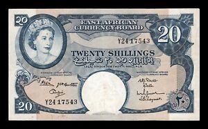 B-D-M East African Africa Oriental 20 Shillings 1963 Pick 43b MBC- aVF