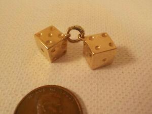 """Original 1970's-vintage (Marked) """"14-KT GOLD ~ DICE Pair"""" (Bracelet) CHARM!"""