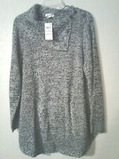 NWT Style & Co Marled Black & White Pullover Acrlylic Sweater Plus Size 1X