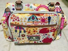 "Lily Bloom Women's Bag 7 Pockets Pink Yellow  17.75"" X 7"" X 14"" Green Living"