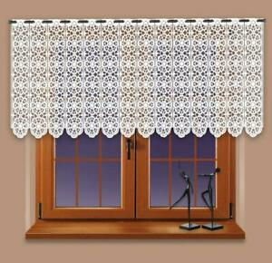 """Kitchen CAFE NET CURTAIN price per metre drop 40 cm - 16"""" ready to hang up White"""