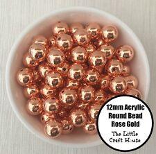 50PC 12mm Acrylic Beads Round Rose Gold Spacer Bead Shiny Plastic Bubblegum DIY