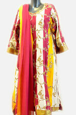Designer red yellow white striped Salwar kurta for women from Orange Earth