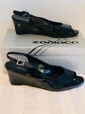 Zodiaco 'Shine Nero' Black Patent Wedge High Heel Dress Sandals Size EU41/UK8