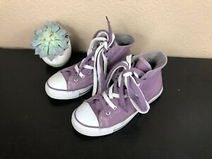 Women's Purple High Top Lace Up Sneakers Shoes Size 6.5
