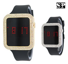 Iced Gold & Silver Finish Digital Smart Touch Screen Silicone Band Bling Watch