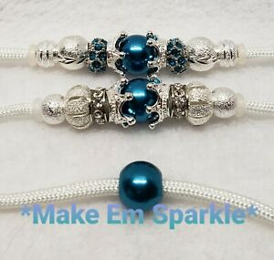 White/Peacock Blue/Silver Dog Show Lead/Leash Crown/Pearl Snap Show Dog Lead 4Ft