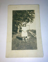 Antique C.1920 Real Photo Postcard of Lovely Girl & Pet Dog! Tree W/ Swing RPPC!