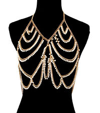 LUXE Statement Gold Cream Dangle Pearl Necklace Body Chain, By Rocks Boutique