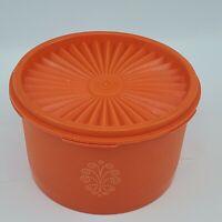 "Vintage Tupperware Canister Orange #1298  4C Capacity & #810 Lid 5 3/8"" Diameter"