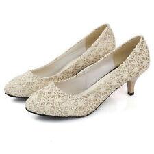 Damen Abiball Spitze Pumps Basic Hochzeit Stiletto Heels Party 820052 Trendy Neu