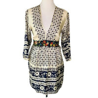 Johnny Was Womens Tunic Top Ivory Floral Embroidered Plunge Neck Button Silk S