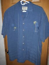 BAMBOO CAY Men's Size Medium Shirt Embroidered Palm Trees Blue