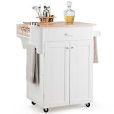 Rolling Kitchen Island Utility Kitchen Cart Storage Organizer w/Spice Rack White