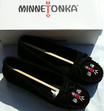Minnetonka Women's Thunderbird II Moccasin  - Black Suede - 8