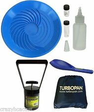 "Turbopan BLUE 16"" Gold Pan/Snuffer/Vials/Magnet/Sand Scoop/Carry Bag Panning"