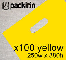100 YELLOW PLASTIC CARRY BAGS with die cut handle - medium size - 250 x 380mm