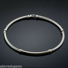 DAVID YURMAN 5 MM CABLE CHOKER NECKALCE 14K YELLOW GOLD & STERLING SILVER 16""